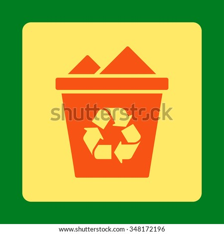 Full Recycle Bin vector icon. Style is flat rounded square button, orange and yellow colors, green background.