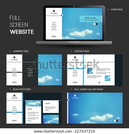 Full Screen Website Template with Blurred Background - Five Different Pages - stock vector