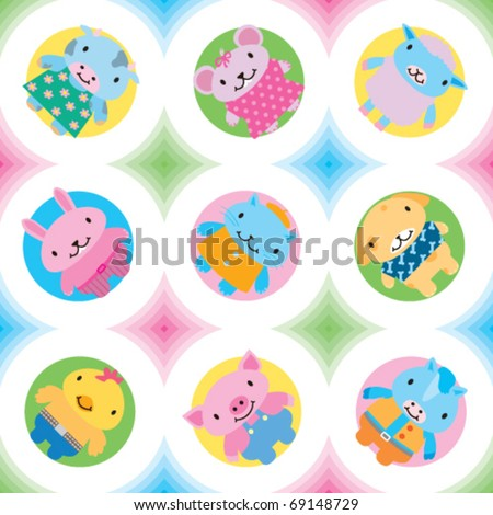Full seamless pattern. Farm animals and pets vector. Great for wallpaper - stock vector