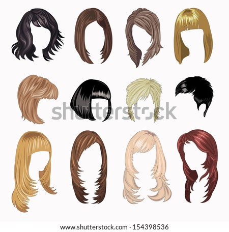 full Set of woman hair styling - stock vector