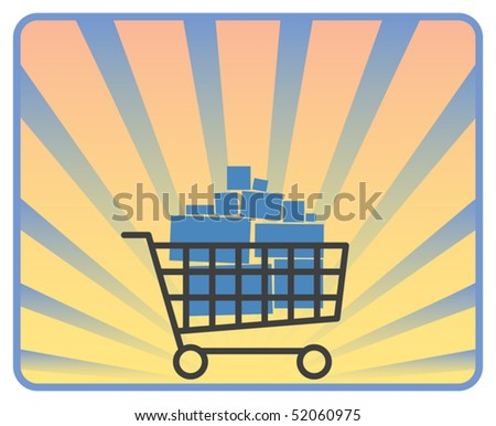 Full shopping cart on ray background, vector illustration - stock vector