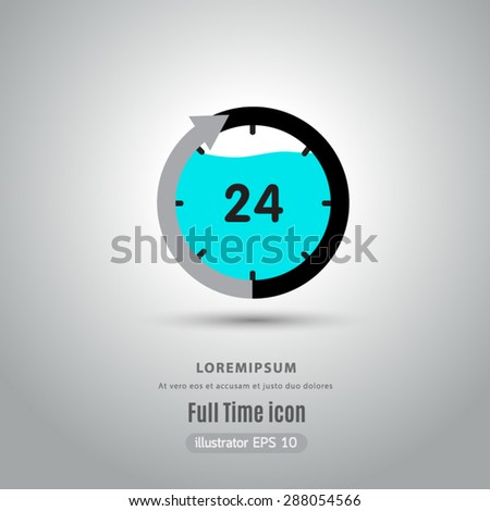 Full time icon vector. - stock vector