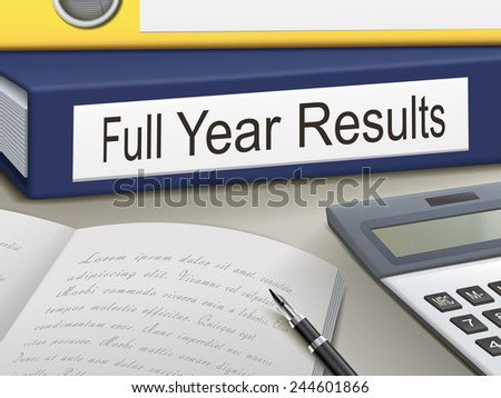 full year results binders isolated on the office table - stock vector