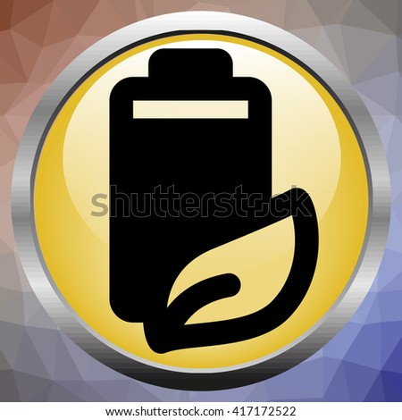 Fully charged green battery icon - stock vector