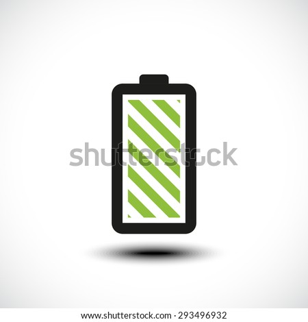 Fully charged green battery icon. Vector illustration - stock vector