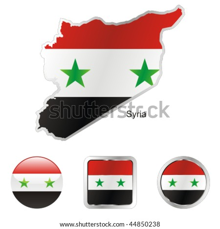 fully editable flag of syria in map and internet buttons shape - stock vector