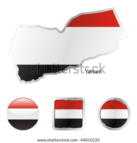 fully editable flag of yemen in map and internet buttons shape - stock vector