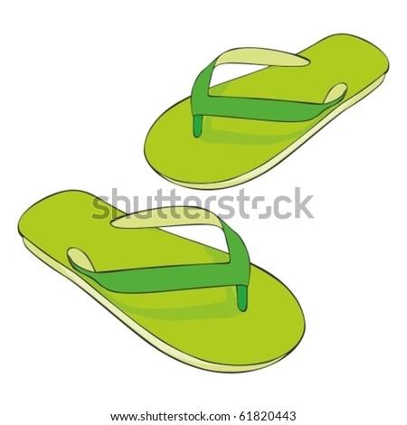 fully editable illustration beach slippers - stock vector