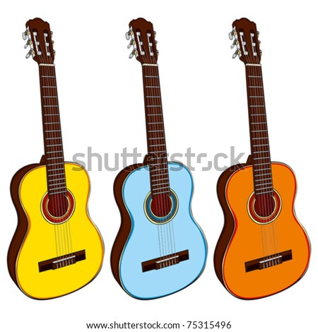 fully editable illustration classic guitars - stock vector