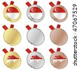 fully editable singapore vector flag in medal shapes - stock photo