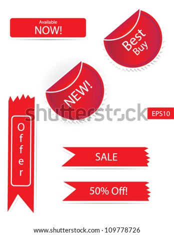 Fully editable Sticker Sets Vector isolated in white background - stock vector