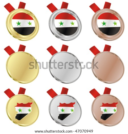 fully editable syria vector flag in medal shapes - stock vector