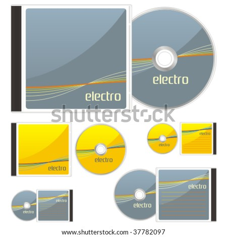 fully editable vector colored CDs and cases with electro layout ready to use - stock vector