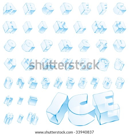 fully editable vector 3d ice alphabet - capitals and numerals - stock vector