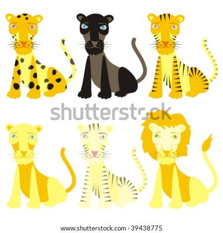 fully editable vector felines ready to use - stock vector