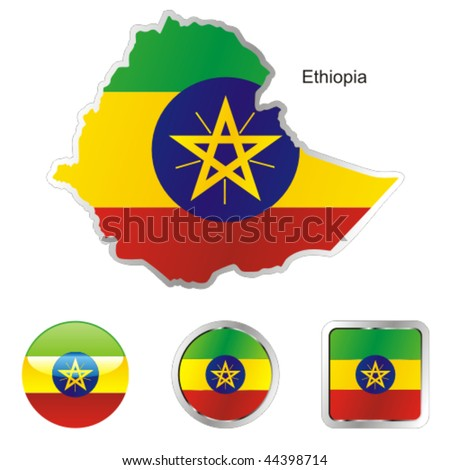 fully editable vector flag of ethiopia in map and web buttons shapes - stock vector
