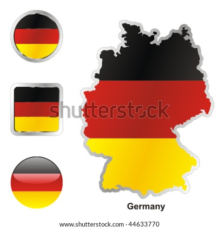 fully editable vector flag of germany in map and web buttons shapes