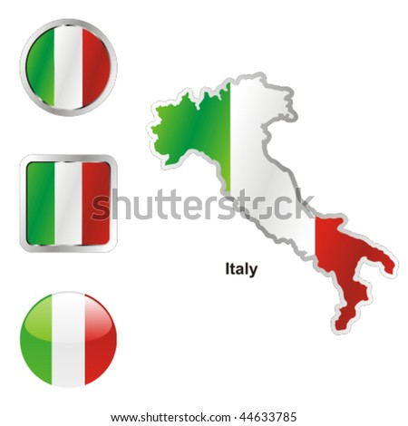 fully editable vector flag of italy in map and web buttons shapes