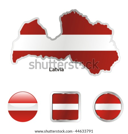 fully editable vector flag of latvia in map and web buttons shapes - stock vector