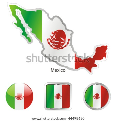 fully editable vector flag of mexico in map and web buttons shapes - stock vector