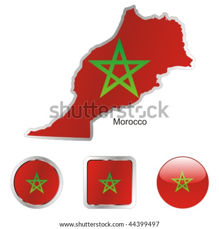 fully editable vector flag of morocco in map and web buttons shapes