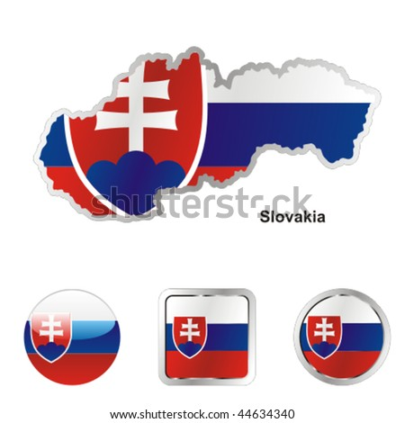 fully editable vector flag of slovakia in map and web buttons shapes