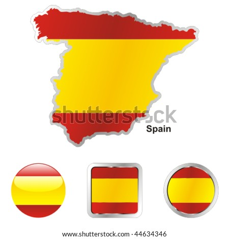 fully editable vector flag of spain in map and web buttons shapes