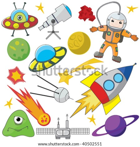 Fully editable vector illustration of a collection of space elements - stock vector