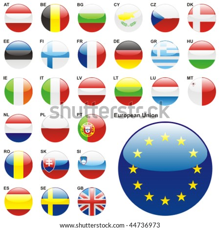 fully editable vector illustration of all twentyseven Member States of the European Union in web button shape - stock vector
