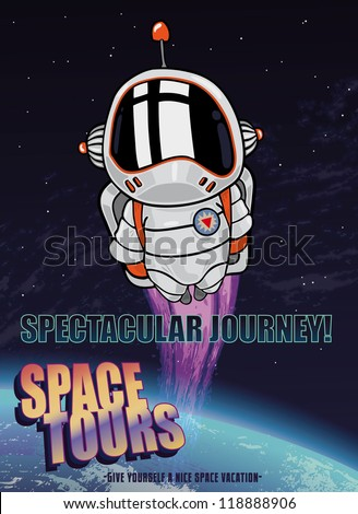 Fully editable vector illustration of an astronaut in orbit taking a space tour - stock vector