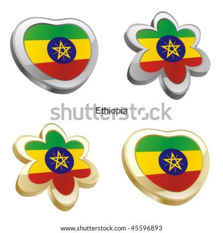 fully editable vector illustration of ethiopia flag in heart and flower shape - stock vector