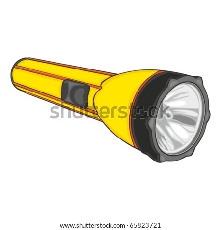fully editable vector illustration of isolated flashlight - stock vector