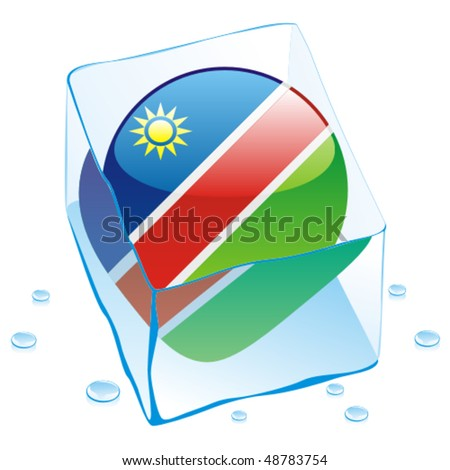 fully editable vector illustration of namibia button flag frozen in ice cube