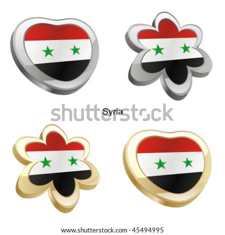 fully editable vector illustration of syria flag in heart and flower shape - stock vector