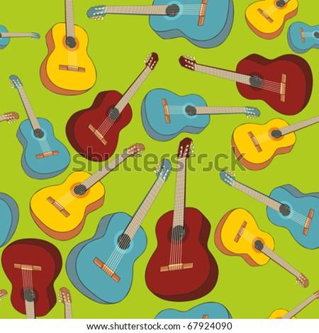 fully editable vector illustration seamless pattern isolated guitars - stock vector