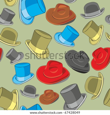 fully editable vector illustration seamless pattern isolated hats - stock vector