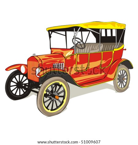 fully editable vector isolated old funny colored car with details - stock vector