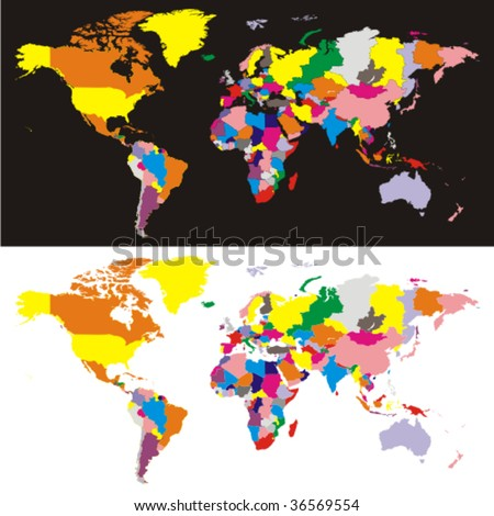 fully editable vector world map with all countries in different colors - stock vector