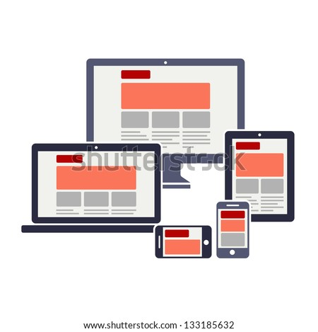 Fully responsive web design - stock vector