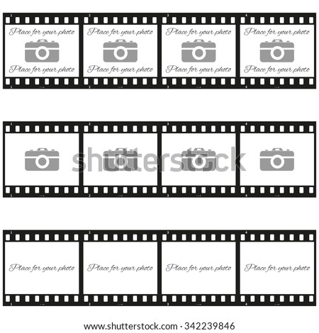 """Fully vector Set of three """"place for your photo"""" templates with photo camera in filmstrip - stock vector"""