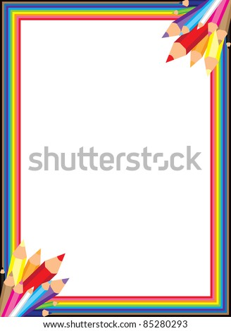 Fun and colorful rainbow pencil border. - stock vector