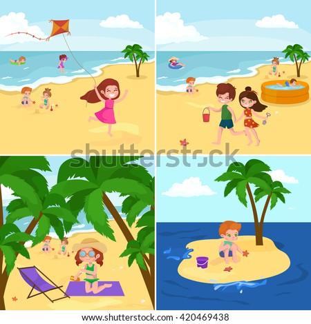 Fun At Summer Beach Happy Cartoon Kids Playing Sand Around Water Vector IllustrationCute
