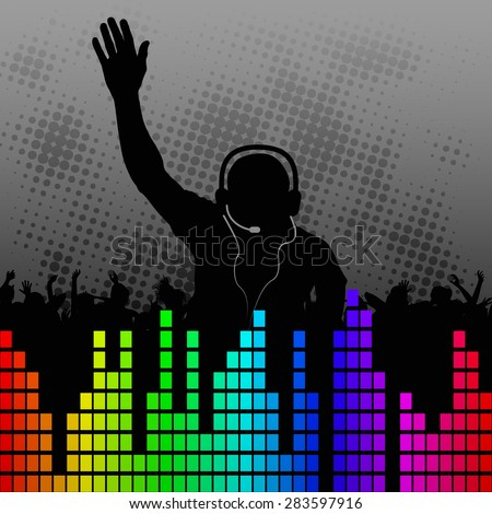 fun background with silhouette DJ - stock vector