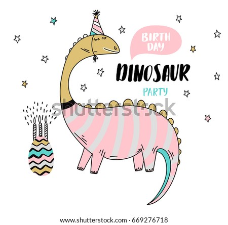 Fun Birthday Card Dinosaur Stock Vector 669276718 Shutterstock