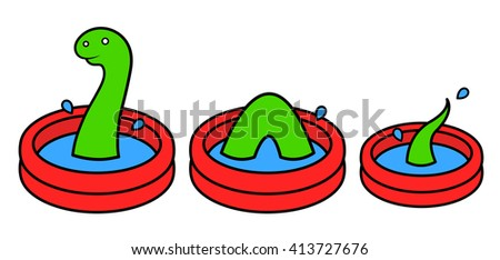 Fun bright red cartoon kids wading pool in three sections with a green Lochness monster swimming in the water, vector illustration - stock vector