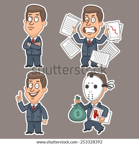 Fun businessman stickers concept set 3 - stock vector