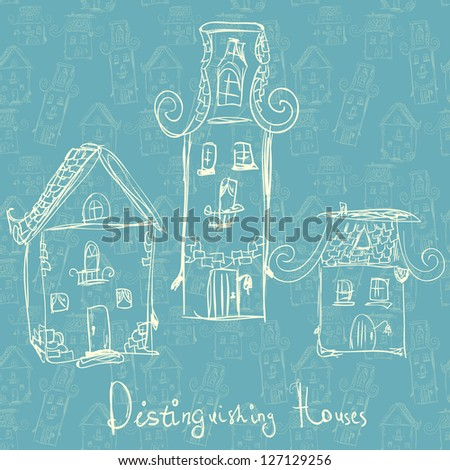 Fun card with hand-drawn houses on seamless wallpaper - stock vector