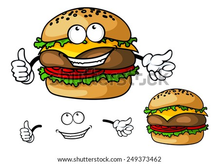 Fun cartoon cheeseburger with happy face and hands for fastfood or takeaway food design - stock vector