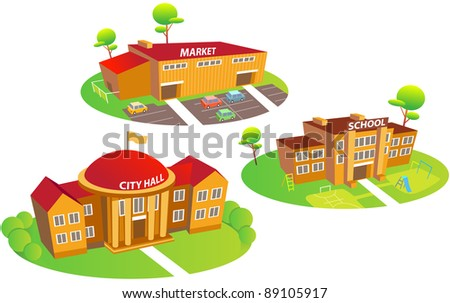 Fun cartoon map elements: city hall, school, market, trees. Each building and  ground are in the separate layer. (set 2) - stock vector