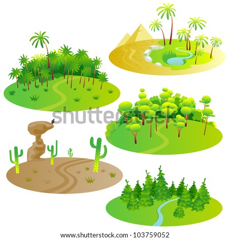 Fun cartoon map elements: forest, jungle, desert. Ground is in the separate layer. (set #9) - stock vector